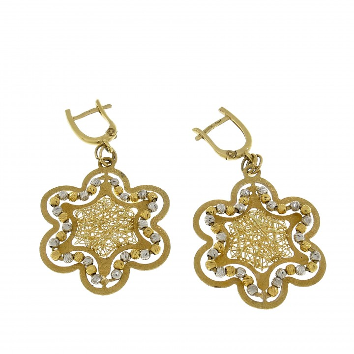 Earrings for women - flower, yellow, white, red gold 14 ct