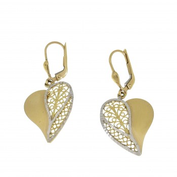 Earrings for women - heart, 14k yellow and white gold
