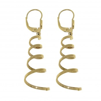 Earrings for women - spirals, 14k yellow gold