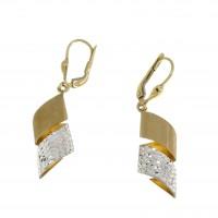 Серьги для женщины, желтое и белое золото 14 карат