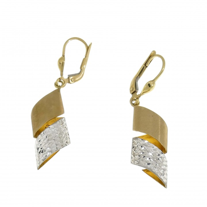 Earrings for women, 14k yellow and white gold