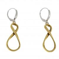 Серьги для женщины - бесконечность, желтое и белое золото 14 карат