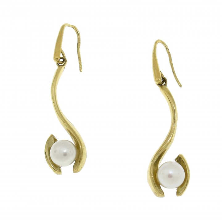 Earrings for women with pearls, 14K yellow gold