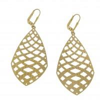 Серьги для женщины - капли, желтое золото 14 карат
