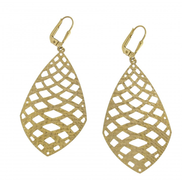 Earrings for women - drops, 14k yellow gold
