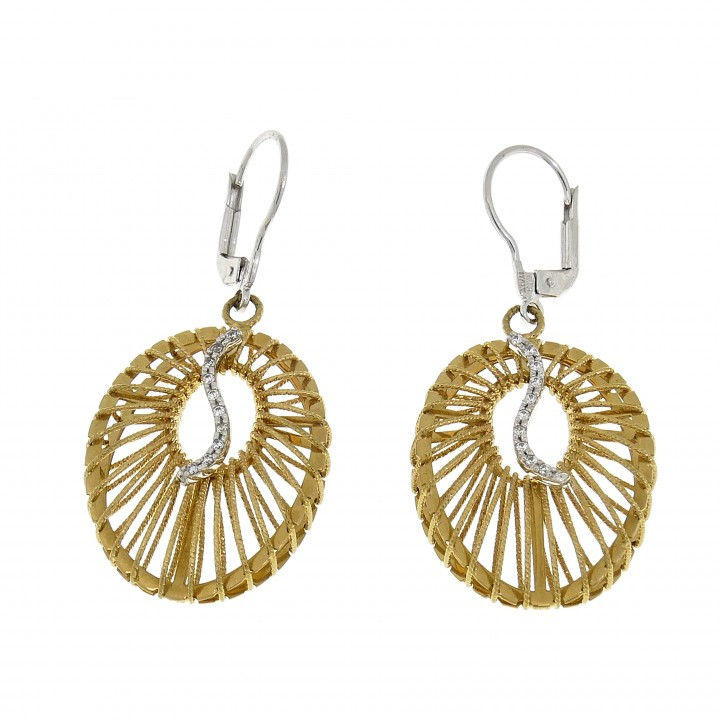 Round earrings for a woman, 14K yellow gold