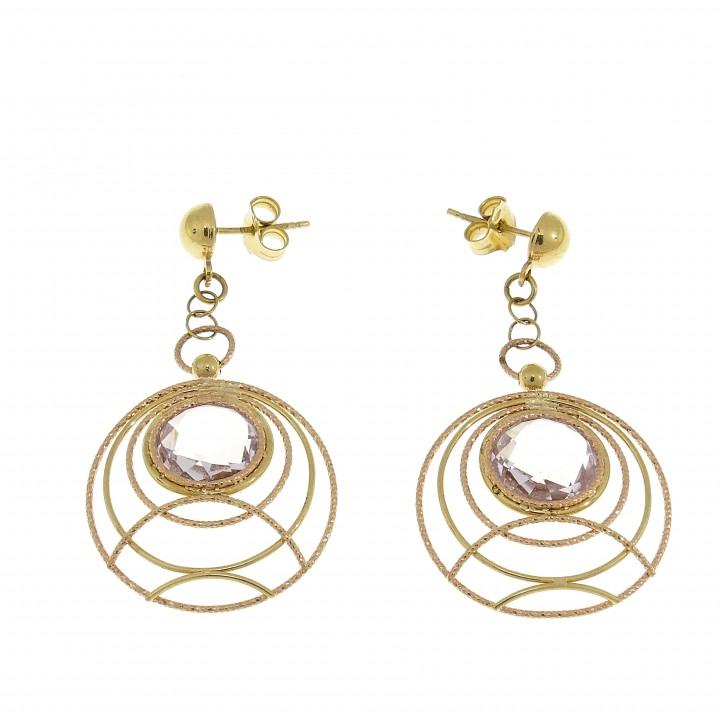 Круглые серьги для женщины с аметистом, желтое золото 14 карат