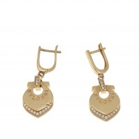 Серьги для женщины - сердце, красное золото 14 карат