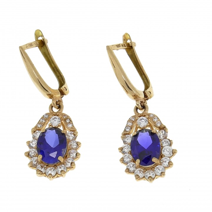 Earrings for a woman, 14K red gold, cubic zirconia and sapphire