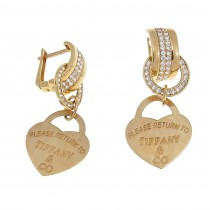 Earrings for women - heart, 14k red gold