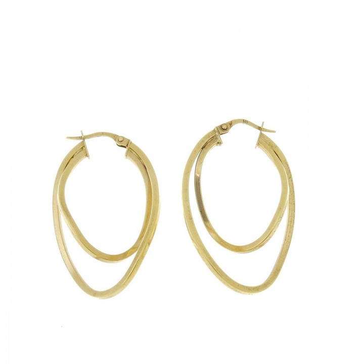 Earrings for women, yellow gold, length 4 cm