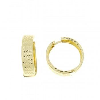 Серьги для женщины, желтое золото 14 карат диаметр 2 см
