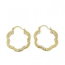 Серьги для женщины. Желтое и белое золото, 585, длина 2 см