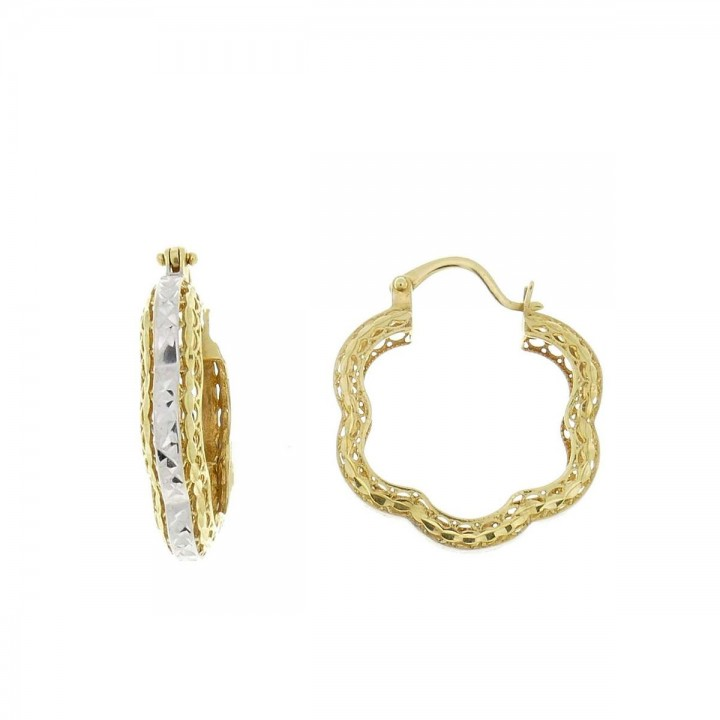 Earrings for women. Yellow and white gold, 585, length 2 cm