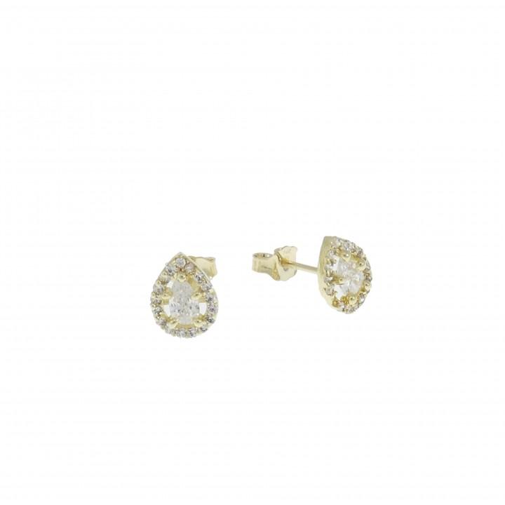 Earrings for women. Yellow gold, 585, diameter 2 cm