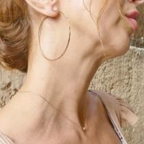 Earrings for women. Red gold, 585, diameter 4.5 cm
