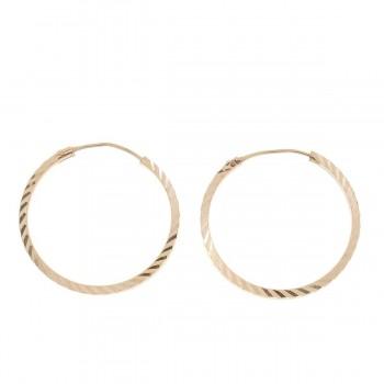 Серьги для женщины, красное золото 14 карат диаметр 2 см