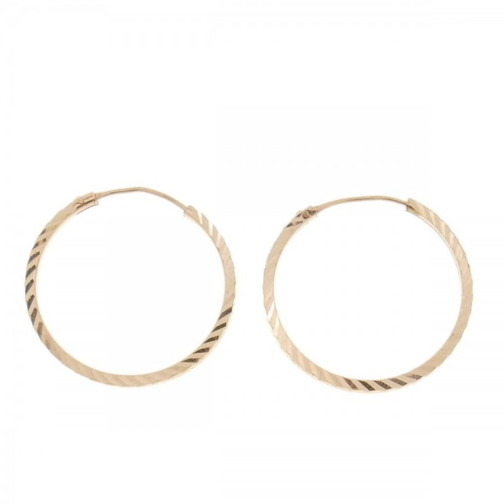 Earrings for a woman, 14K red gold, diameter 2 cm