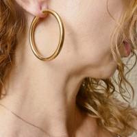 Серьги для женщины. Красное золото, 585,  диаметр 3,5 см