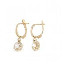 Earrings for women. Red gold, 585, zirconium, length - 2.5 cm