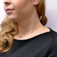 Серьги - гвоздики для женщины, белое золото 14 карат с цирконием