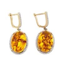 Серьги для женщины. Красное золото, 585, цирконий и янтарь, длина - 3,5 см