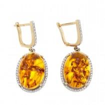 Earrings for women. Red gold, 585, zirconium and amber, length - 3.5 cm