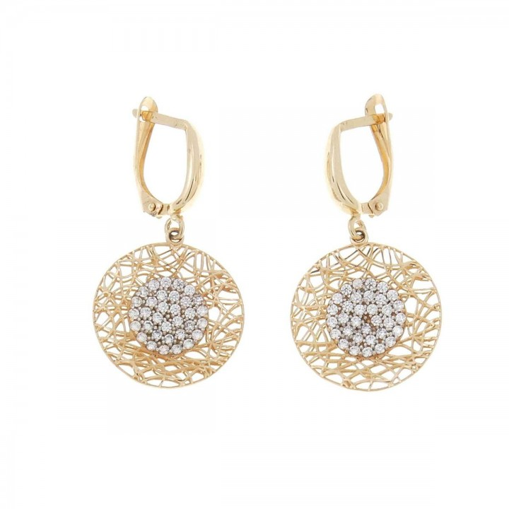 Earrings for women. Red gold, 585, zirconium, length - 4 cm