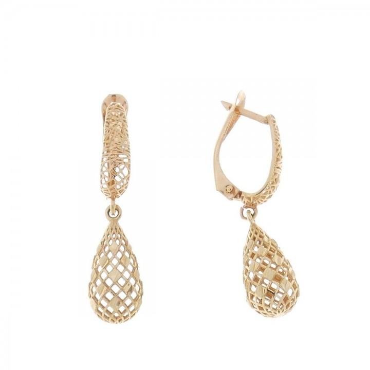 Earrings for women - drops. Red gold, 585, length - 2 cm