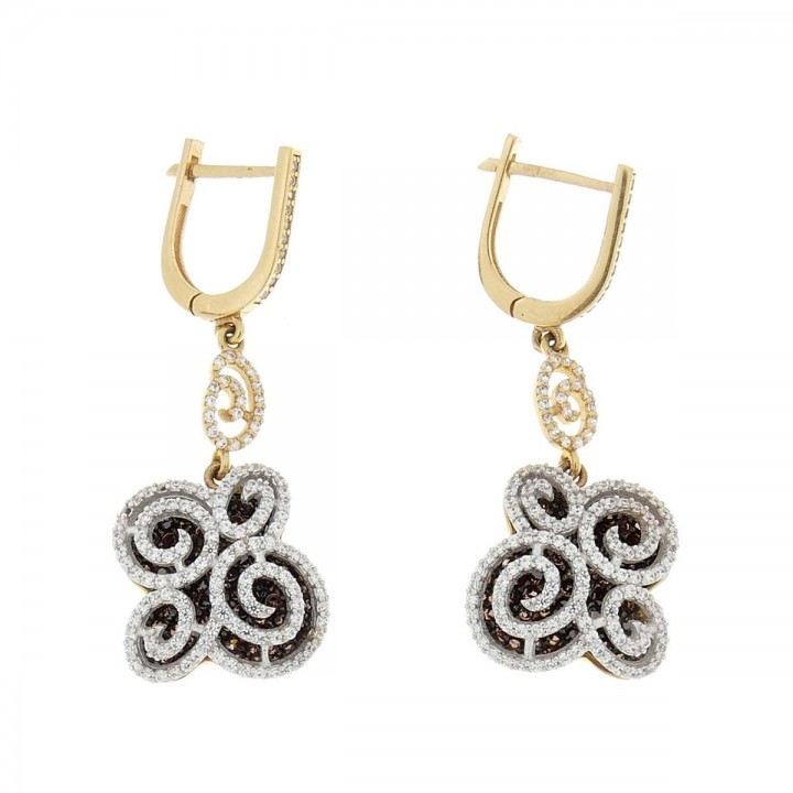 Earrings for women. Yellow gold, 585, length - 4 cm