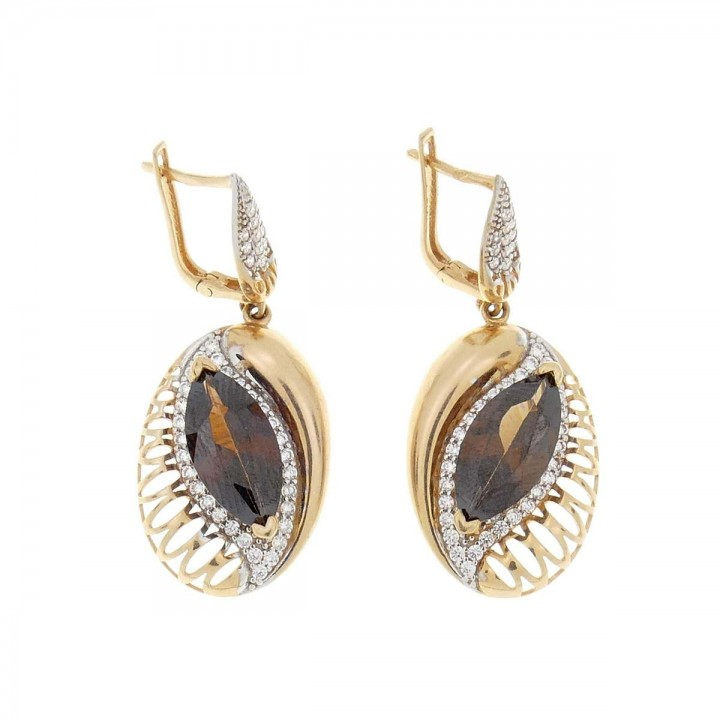 Earrings for women. Yellow gold, 585, zirconium, length - 4 cm