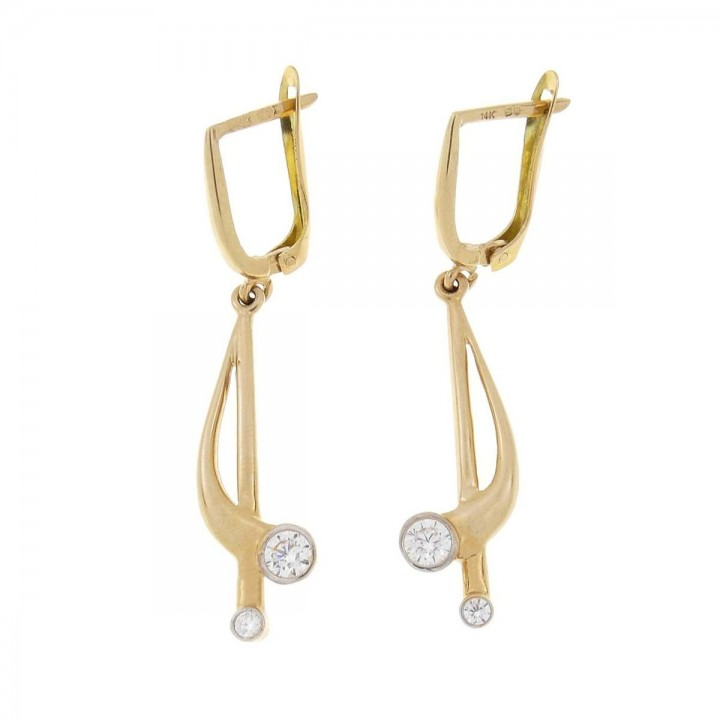 Earrings for women. Yellow gold, 585, zirconium, length - 5 cm