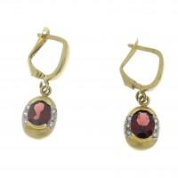 Серьги для женщины, жёлтое золото 14 карат с рубином и цирконием