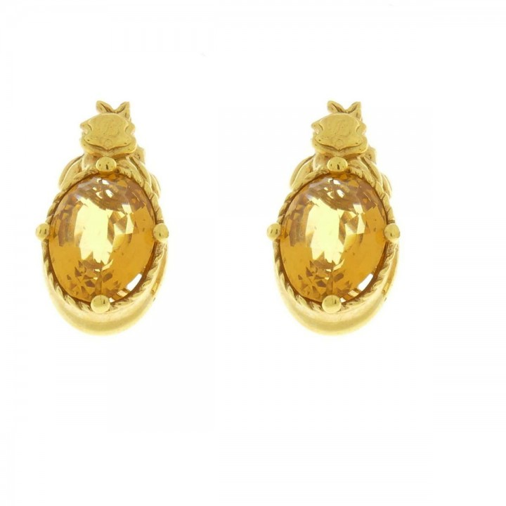 Earrings for woman, 14K yellow gold with citrine