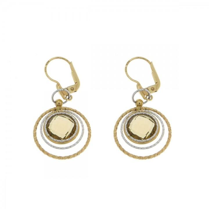 Серьги для женщины, желтое и белое золото 14 карат с цитрином