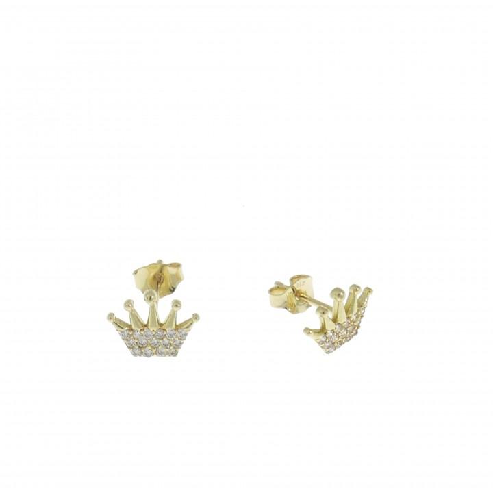 Серьги для женщины - корона, желтое золото 14 карат с цирконием