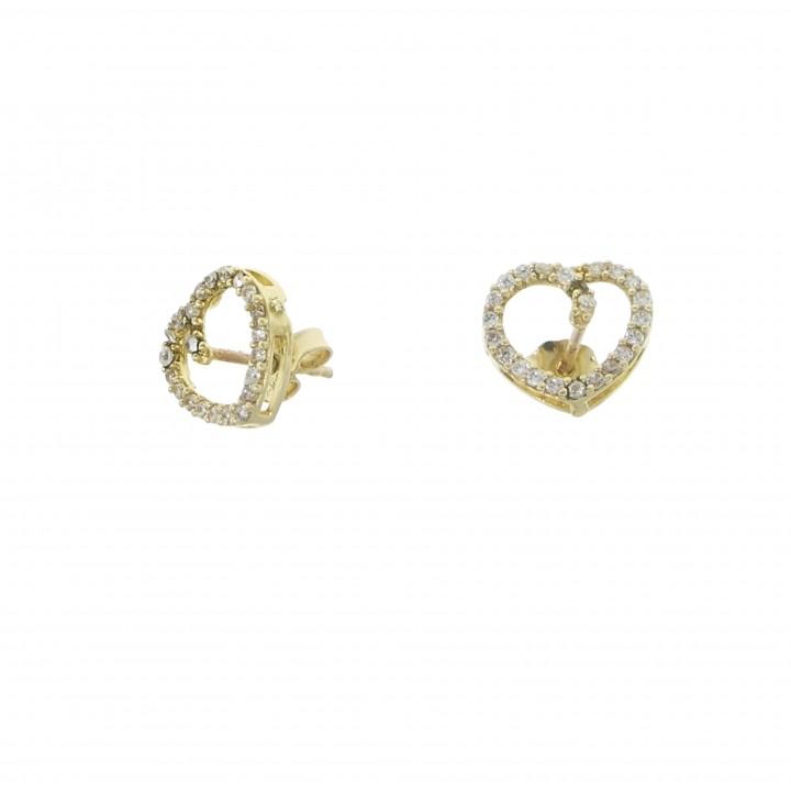 Серьги для женщины - сердце, желтое золото 14 карат с цирконием
