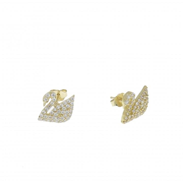 Серьги для женщины - лебедь, желтое золото 14 карат с цирконием