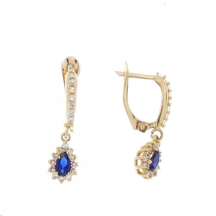 Earrings for women. Red gold, 585, zirconium and sapphire, length - 2.5 cm