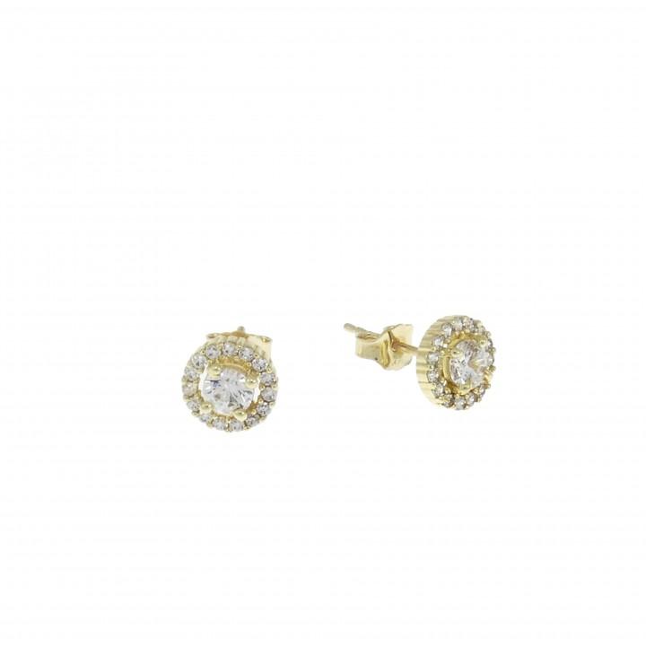 Серьги - гвоздики для женщины, желтое золото 14 карат с цирконием