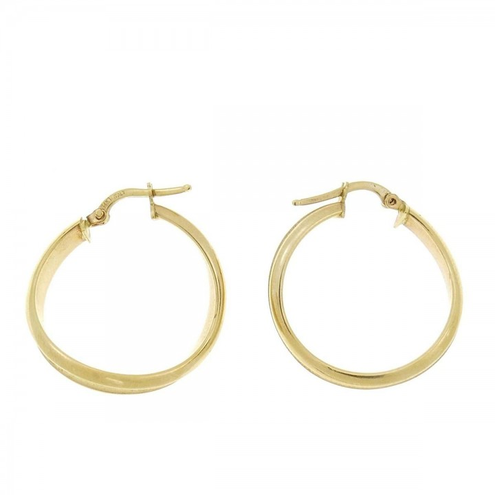 Earrings for women. Yellow gold, 585, diameter - 2 cm