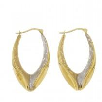 Серьги для женщины. Желтое и белое золото, 585, длина 3,5 см