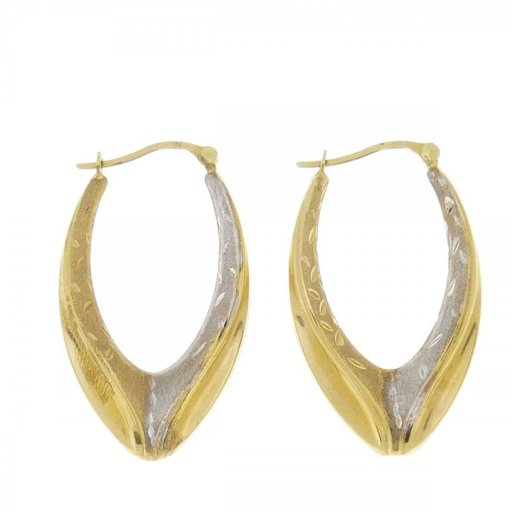 Earrings for women. Yellow and white gold, 585, length 3.5 cm