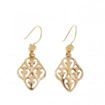 Earrings for women. Red gold, 585, length - 4 cm