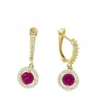 Earrings for women. Red gold, 585, ruby, length 3 cm