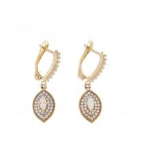Earrings for women. Red gold, 585, zirconium, length - 3 cm