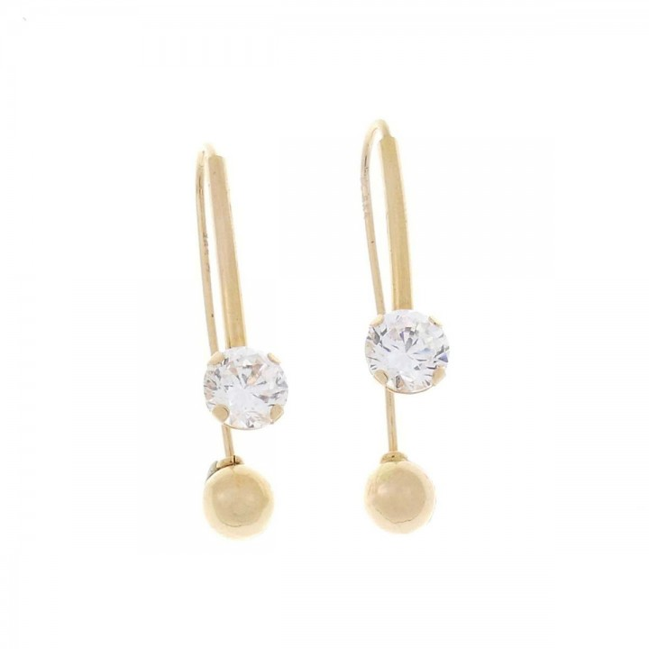 Earrings for women. Red gold, 585, zirconium, length - 3.5 cm