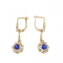 Earrings for women. Red gold, 585, zirconium and sapphire, length - 3 cm