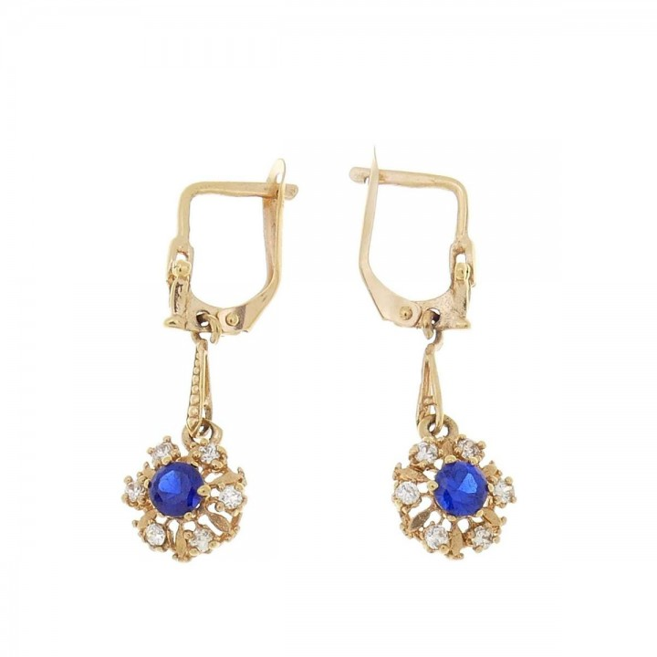 Earrings for women. Red gold, 585, zirconium and sapphire, length - 3 cm