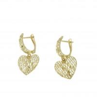 Серьги для женщины - сердце, желтое золото 14 карат